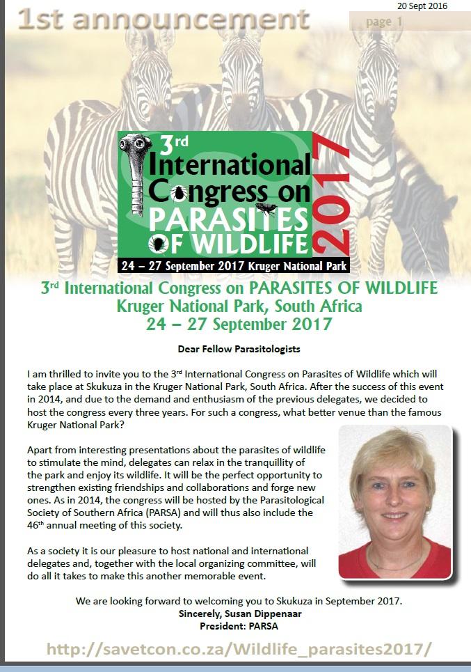 3de Internationale congres over parasieten in wild