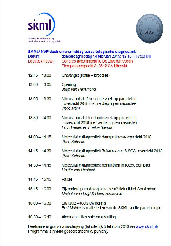 SKML / NVP deelnemermiddag sectie parasitologie 2019